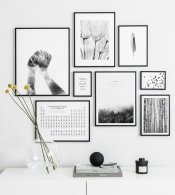 Gallery wall with black and white posters and black metal frames