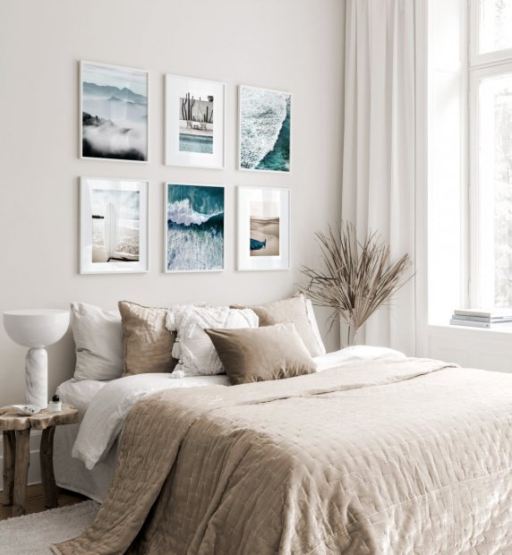 Summery gallery wall beige tones white wooden frames