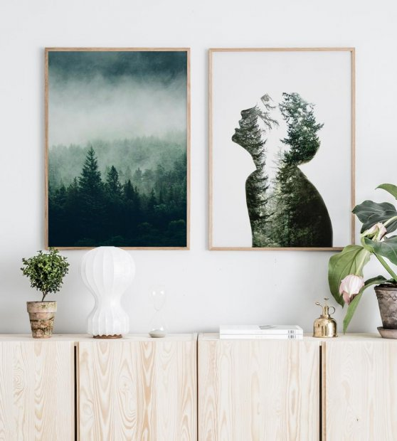 Gallery wall forest nature oak frames