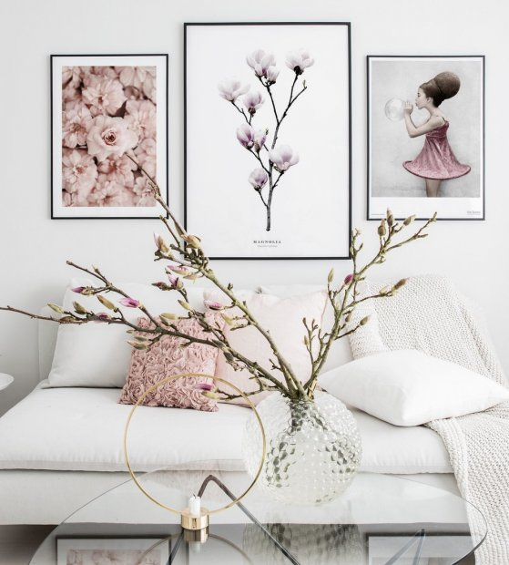 Gallery wall pink flowers black metal frames