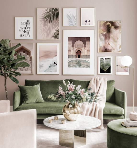 Beautiful Mediterranean gallery wall pink green posters golden frames