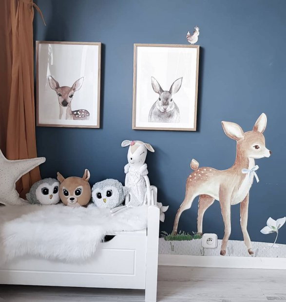 Cute childrens posters with a deer and bunny