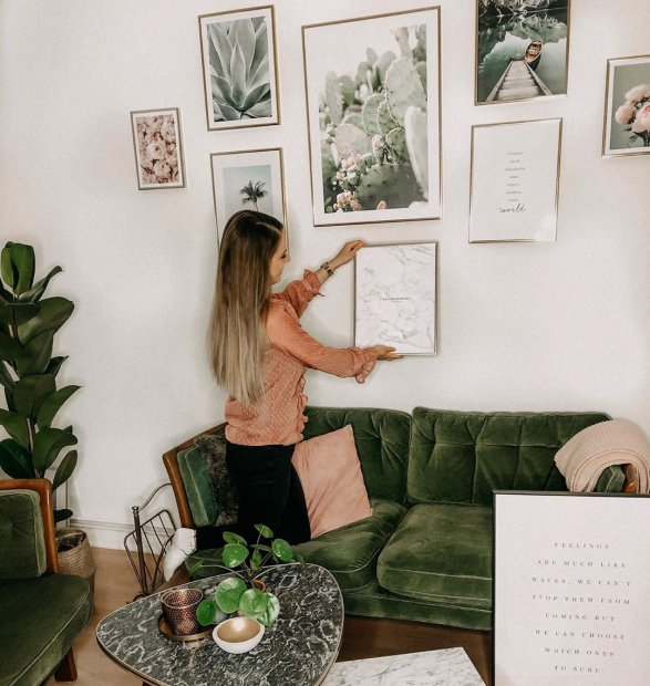 Green pink gallery wall with botanical posters