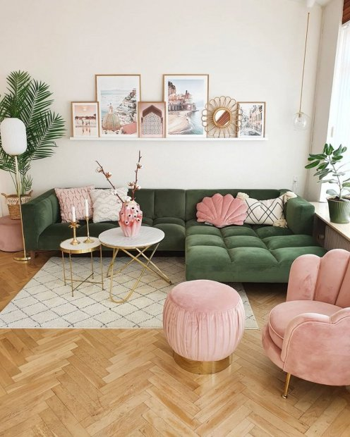 Stunning pink green gallery wall living room posters amalfi print