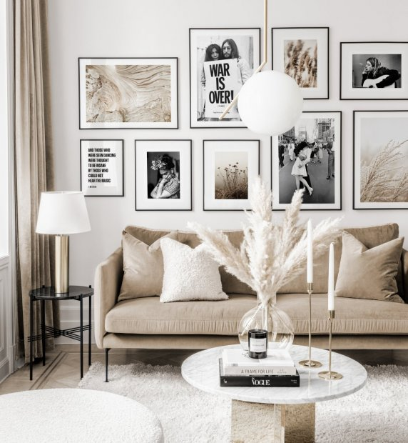 Trendy gallery wall black white iconic posters beige nature prints black metal frames
