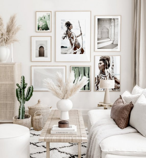 Elegant gallery wall nature posters photography beige interior oak frames