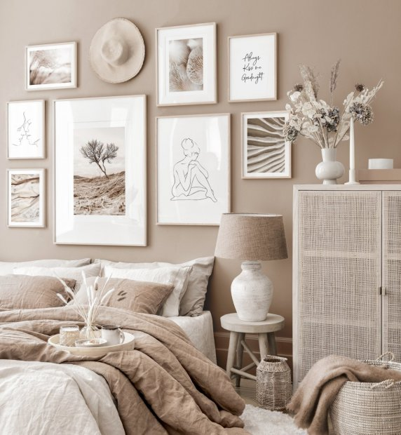 Mindfulness gallery wall beige bedroom nature posters oak frames