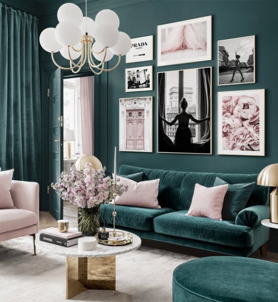Elegant gallery wall petrol pink living room fashion posters golden frames