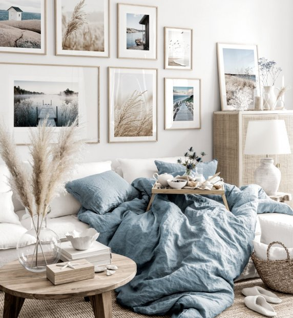 Soothing gallery wall art beige blue living room nature posters oak frames