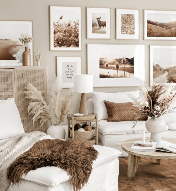 Summery gallery wall art beige living room highland cow poster oak frames