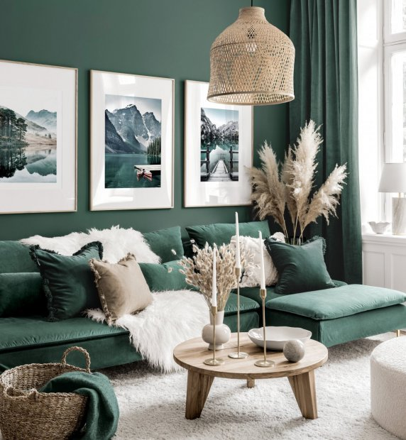 Stunning gallery wall green living room nature posters oak frames