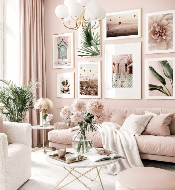 Trendy gallery wall pink living room botanical posters golden frames