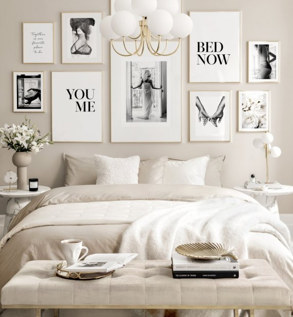Elegant picture wall black and white prints golden frames
