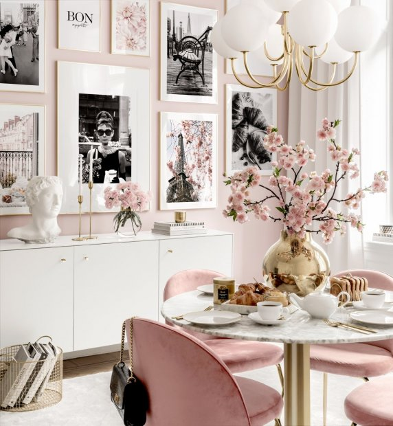 Paris wall art iconic prints pink dining room golden frames