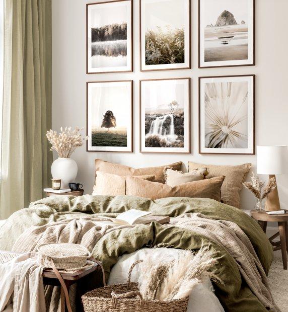 Earth colours gallery wall nature prints beige bedroom walnut frames