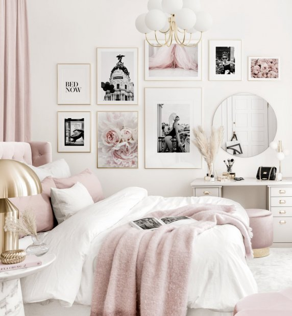 Elegant gallery wall pink white bedroom black and white posters golden frames