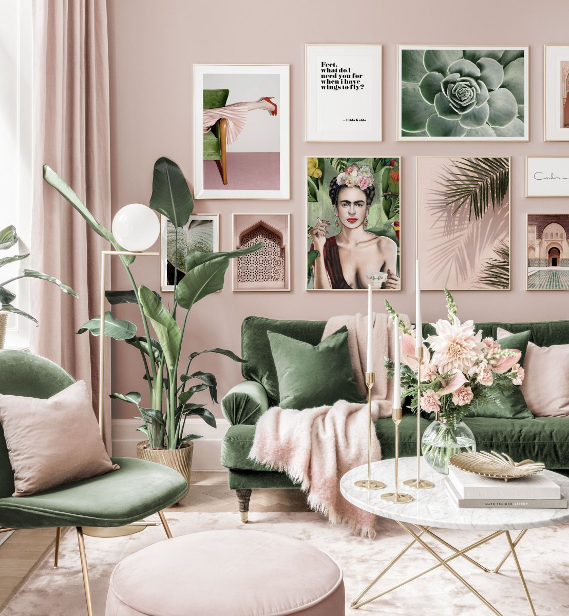 Stylish Gallery Wall Art Pink Green Living Room Frida Poster Golden Frames Gallery Wall Inspiration Posterstore Com