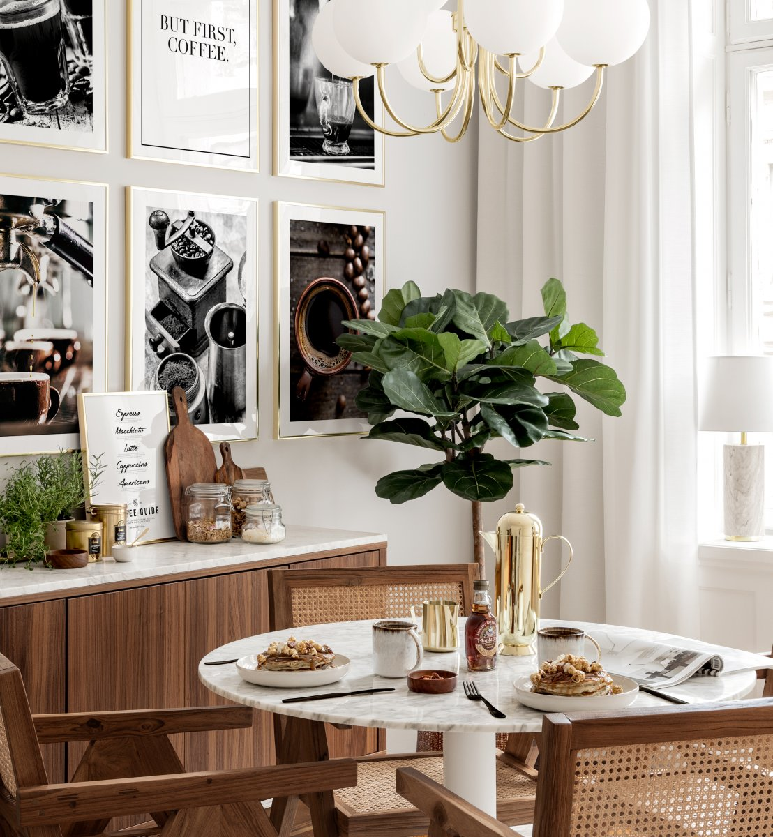 Wall Art Coffee Posters Golden Frames, Dining Room Posters And Prints