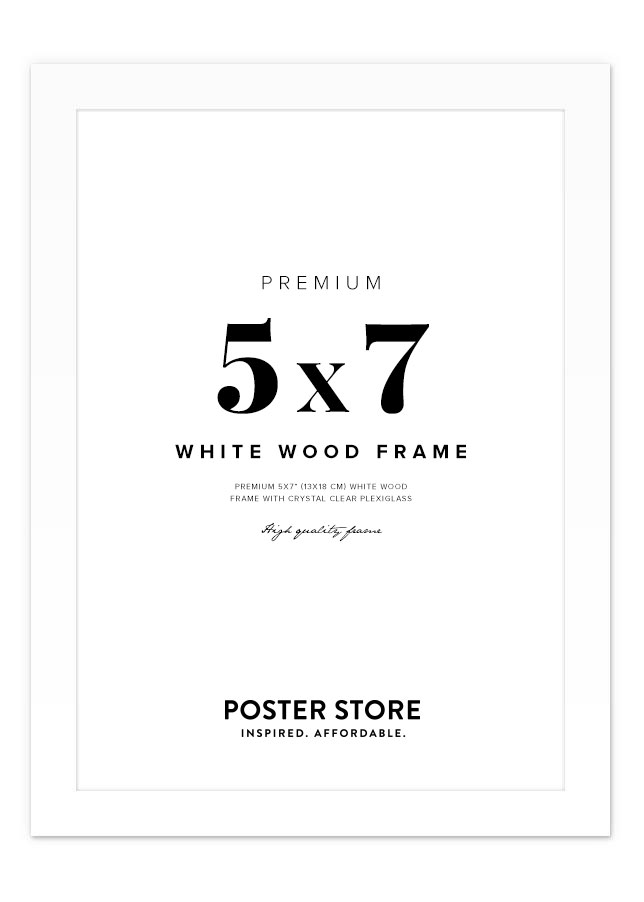 "White Wood Frame 5.1"" x 7.1"""